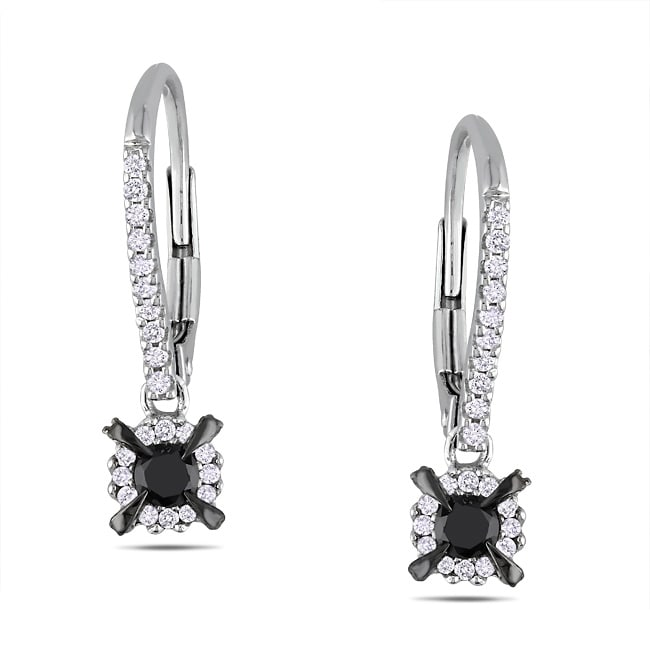 Miadora 10k White Gold 1/2ct TDW Black and White Diamond Earrings
