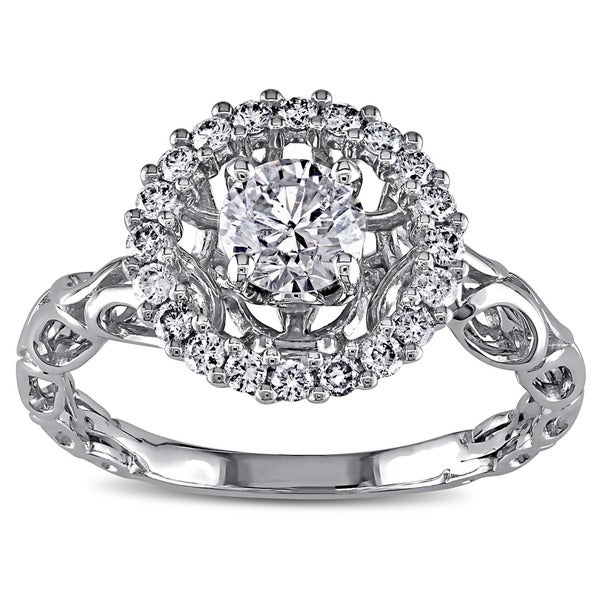 Miadora Signature Collection 18k White Gold 3/4ct TDW Diamond Crown Halo Ring (H-I, I1-I2)