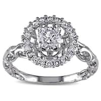 Miadora Signature Collection 18k White Gold 3/4ct TDW Diamond Crown Halo Ring