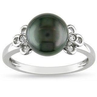 Miadora 14k White Gold Tahitian Pearl and Diamond Accent Ring (G-H, I1-I2)