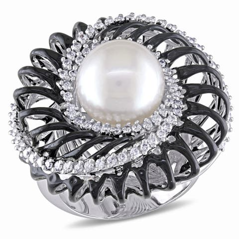 Miadora Signature Collection 18k White Gold South Sea Pearl and 5/8ct TDW Diamond Ring (G-H, SI1-SI2