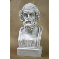 Decorative White Eight-inch Cast-solid Bonded-marble Bust of Homer