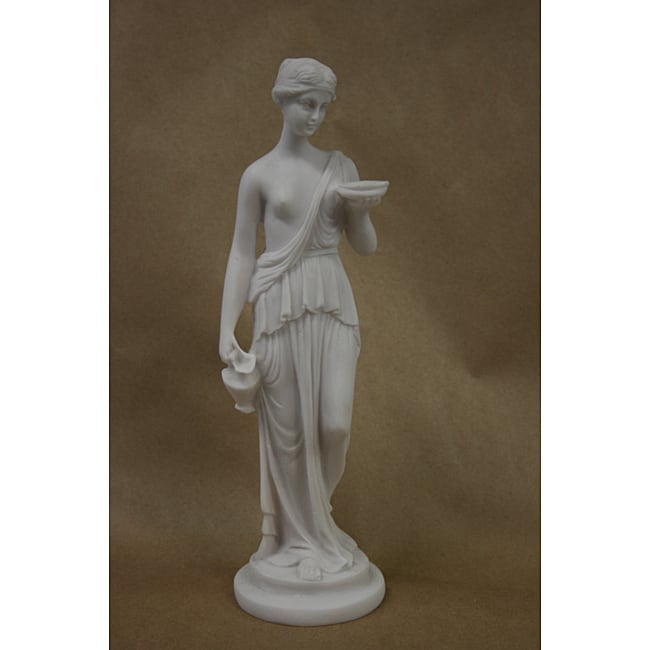 White Bonded Marble Statue of Greek Goddess Hebe, The Cup Bearer