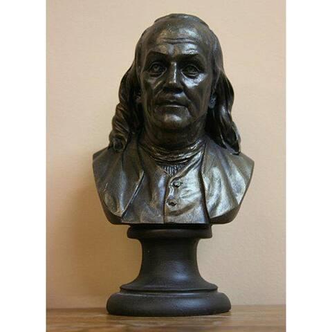 Bronze Finished Bonded Marble Bust of Benjamin Franklin