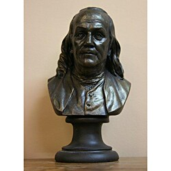 Bronze Finished Bonded Marble Bust of Benjamin Franklin