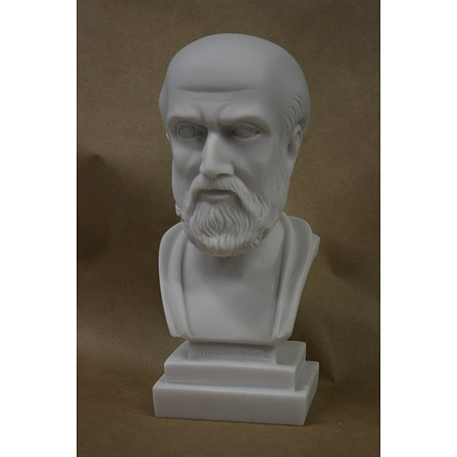 MarbleCast 8.5-inch-tall White Bonded-marble Bust of Hippocrates