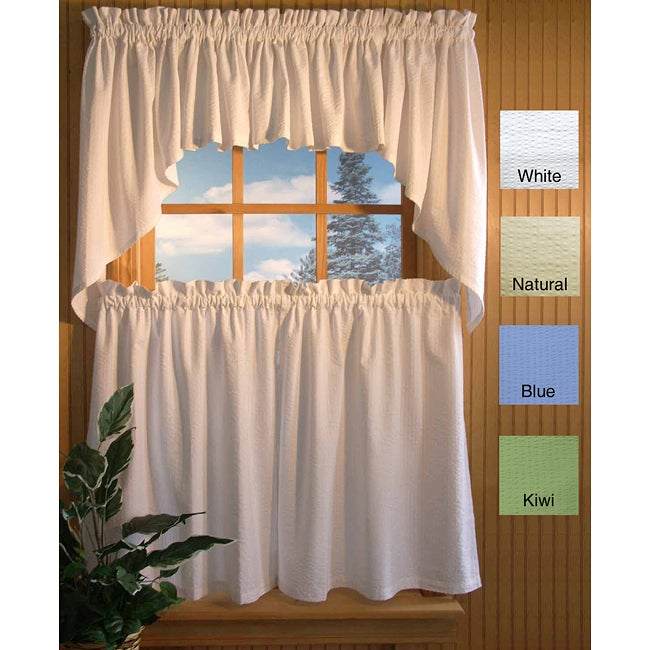 Skinny Seersucker 36-inch 5-piece Curtain Set