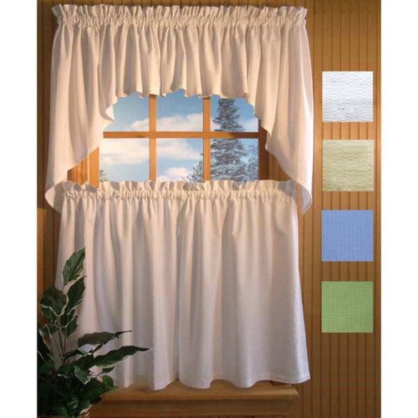 Skinny Seersucker 24-inch 5-piece Curtain Set