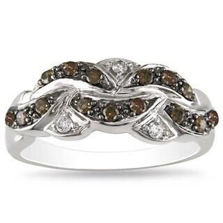 Miadora 14k White Gold 1/3ct TDW Brown and White Diamond Ring