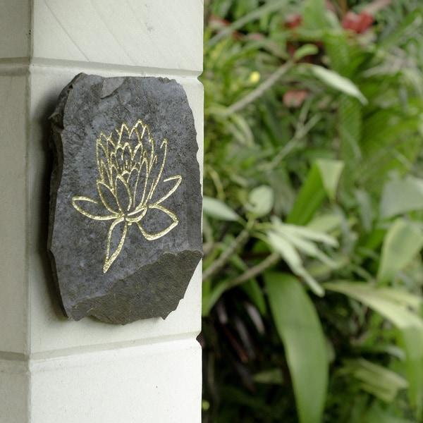 Volcanic Slate Lotus Symbol Engraved Stone (Indonesia)