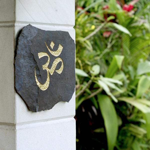 Volcanic Slate 'Om' Engraved Stone (Indonesia)