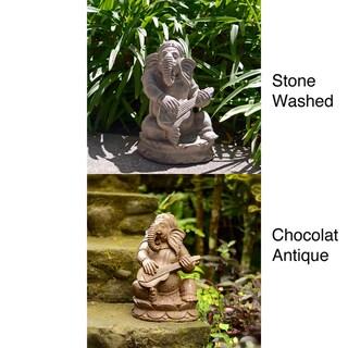 Stone Sitar Elephant Ganesha Statue, Handmade in Indonesia