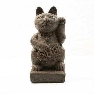Handmade Stone Japanese Maneki Neko Lucky Cat Statue (Indonesia)