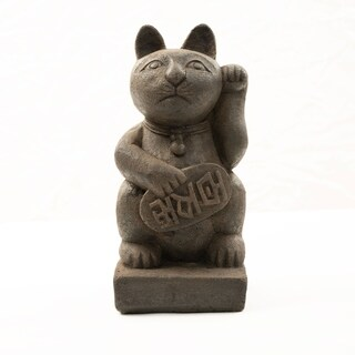 Stone Japanese Maneki Neko 'Lucky Cat' Satuette, Handmade in Indonesia
