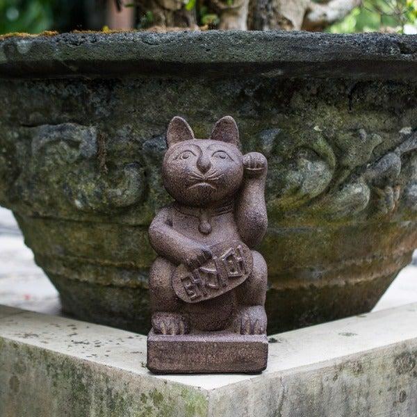 Stone Japanese Maneki Neko 'Lucky Cat' Satuette, Handmade in Indonesia