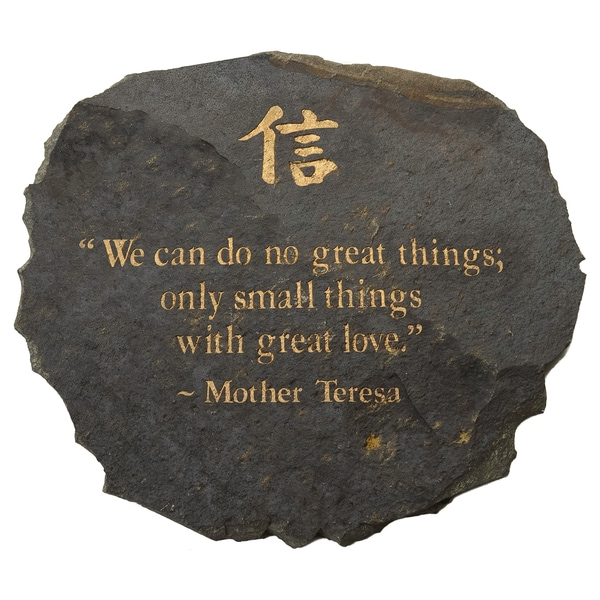 Volcanic Slate 'We can do no Great Things' Engraved Stone (Indonesia)
