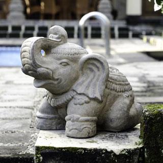 Small Stone Elephant Statuette, Handmade in Indonesia