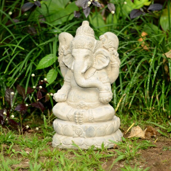 Handmade Large Stone Elephant Ganesha Statue (Indonesia)