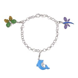 Sofia Sterling Silver Butterfly/ Dolphin/ Dragonfly Charm Bracelet
