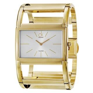 Calvin Klein Women's 'Dress X' Yellow-Gold-Plated Stainless Steel Silver-Dial Quartz Watch