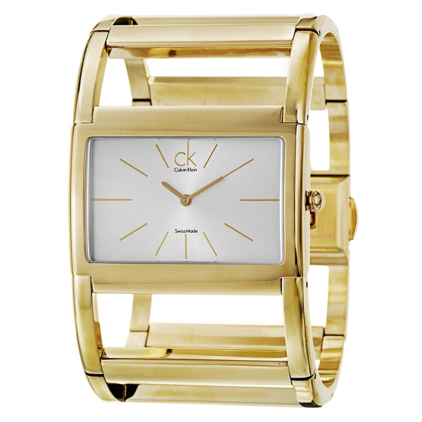 Calvin Klein Women's 'Dress X' Yellow-Gold-Plated Stainless Steel Silver-Dial Quartz Watch