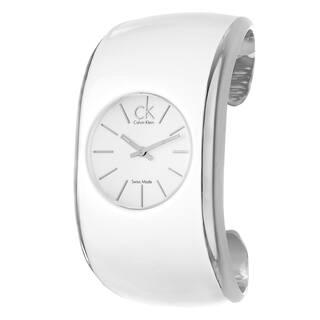 Calvin Klein Women's 'Gloss' Stainless Steel and White Enamel Quartz Watch https://ak1.ostkcdn.com/images/products/6355637/6355637/Calvin-Klein-Womens-Gloss-Stainless-Steel-and-White-Enamel-Quartz-Watch-P13975183.jpg?impolicy=medium