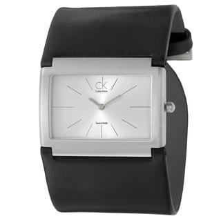 Calvin Klein Women's 'Dress' Stainless Steel and Leather Quartz Watch