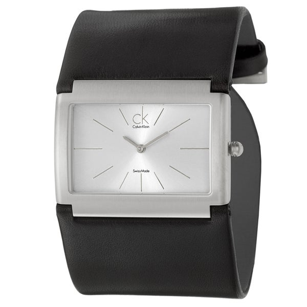 Calvin Klein Women's 'Dress' Stainless Steel and Leather Quartz Watch