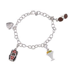 Sofia Sterling Silver Sports Car and Sundae Charm Bracelet