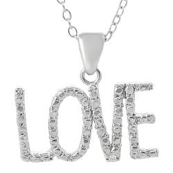Journee Sterling Silver Cubic Zirconia-accented 'Love' Necklace