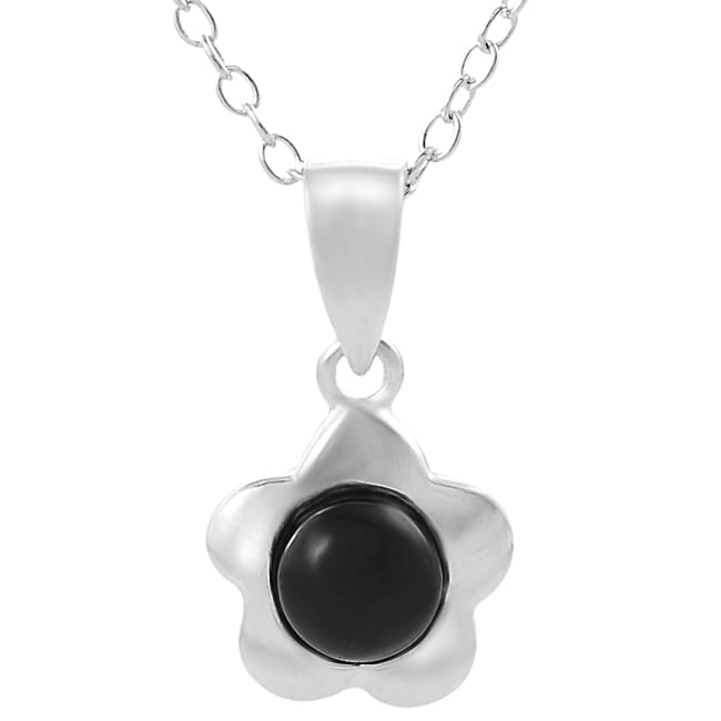 Journee Collection  Sterling Silver Created Black Onyx Flower Necklace