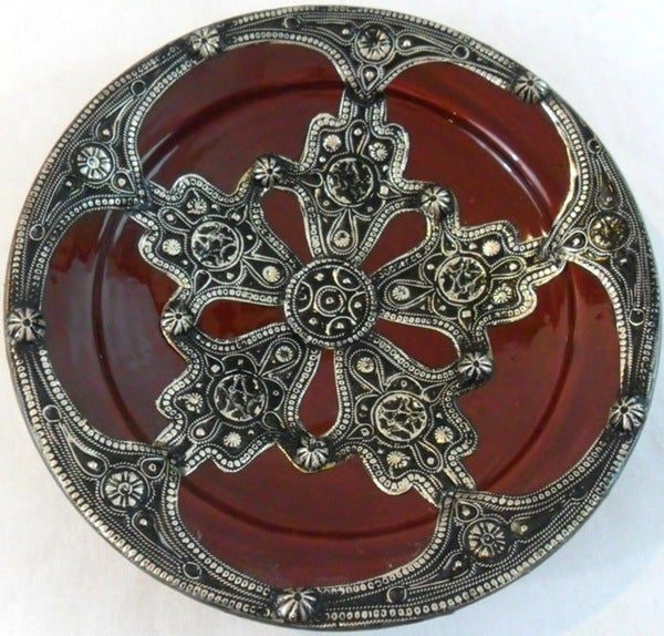 Majestique Ceramic and Metal Decorative Plate (Morocco)