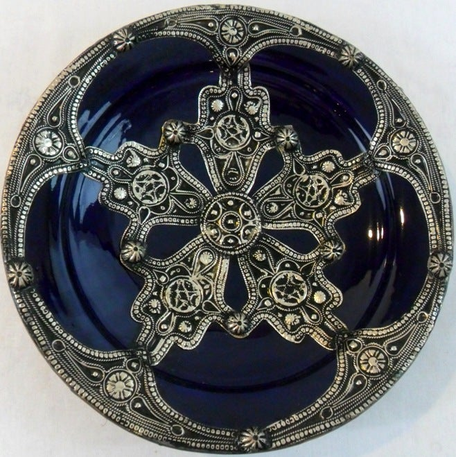 Majestique Ceramic-and-Metal Decorative Plate in Blue (Morocco)