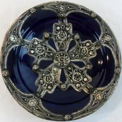 Majestique Ceramic-and-Metal Decorative Plate in Blue (Morocco)
