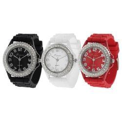 Geneva Platinum Women's Japanese Quartz Rhinestone-accented Silicone Watch (Option: Red)