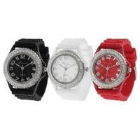 Geneva Platinum Women's Japanese Quartz Rhinestone-accented Silicone Watch