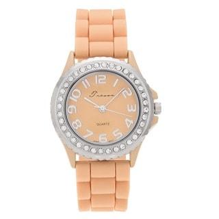 Geneva Platinum Women's Czech Rhinestone-accented Silicone Watch