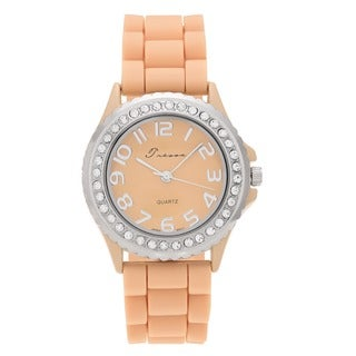 Geneva Platinum Women's Czech Rhinestone-accented Silicone Watch