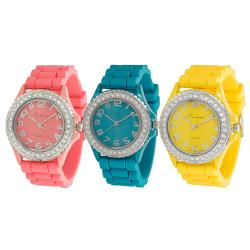 Journee Collection Women's Pastel Rhinestone-Accented Silicone Watch