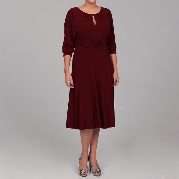 Shop London Times Womens Plus Size Keyhole Jersey Dress Free