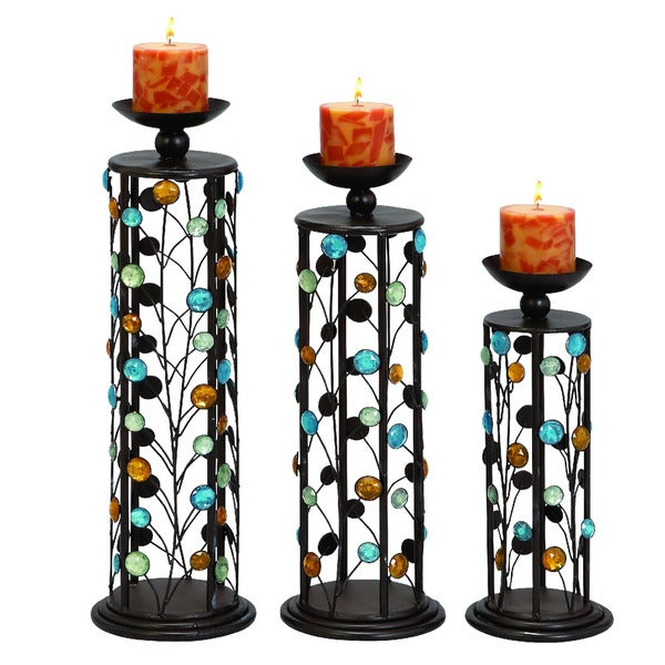 Color Medley Metal Pillar Candle Holders - Set of 3