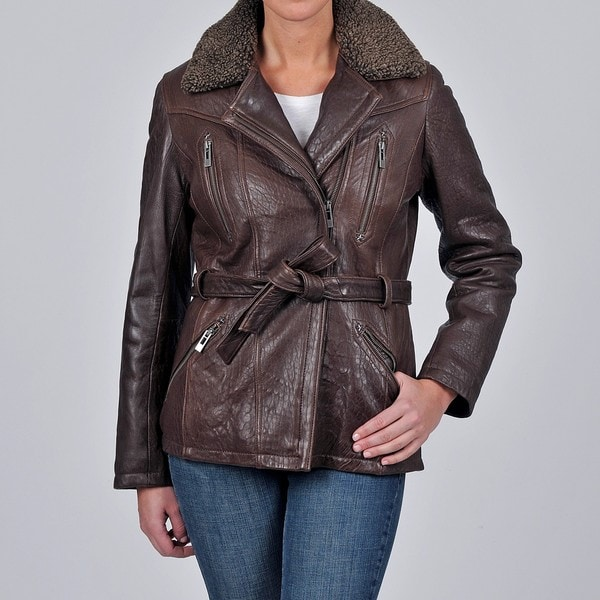 Tibor Design Women's New Zealand Lamb Leather Bubble Jacket with Asymmetrical Closure