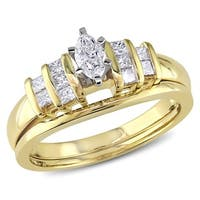 Miadora 14k Two-tone Gold 1/2ct TDW Diamond Bridal Ring Set