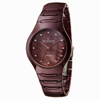 Skagen Women's 817SDXCR Brown Ceramic MOP Dial Watch
