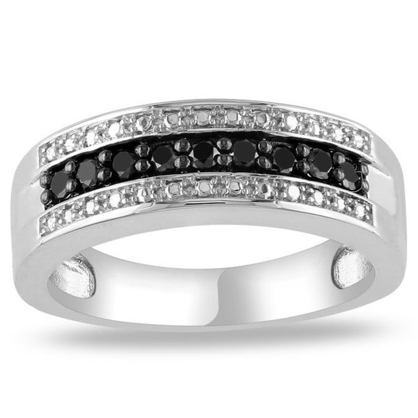 Miadora Sterling Silver 1/4 CT TDW Round Black Diamonds Ring