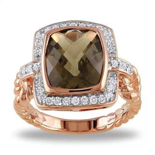 Miadora Silver 4 3/4 CT TGW Smokey Quartz 1/3 CT TDW Ring (G-H, I3)