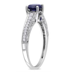 Miadora 10k White Gold Sapphire and 1/5ct TDW Ring (G-H, I2-I3) (1ct TGW)