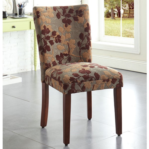 Best Upholstery Fabric For Dining Room Chairs: HomePop Classic Sage Leaf Pattern Fabric Dining Chair