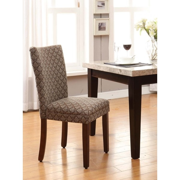 HomePop Modern Parson Blue/ Chocolate Damask Diamond Fabric Dining Chair