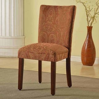 Homepop Clic Parson Red Gold Damask Fabric Dining Chair